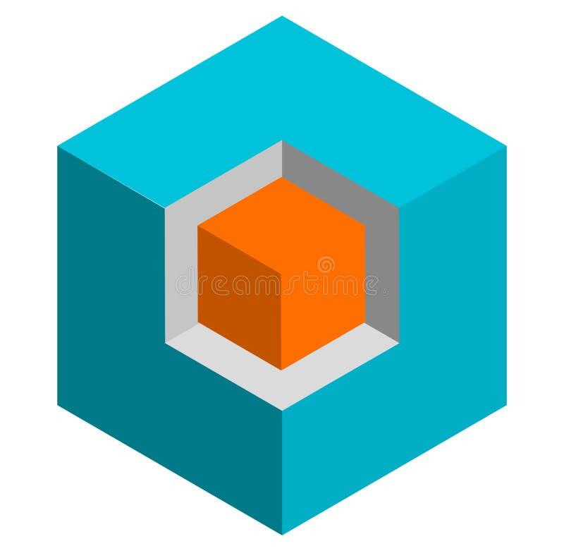 Ícone conceptual do cubo do duotone 3d isométrico Cubo geométrico para o st ilustração royalty free