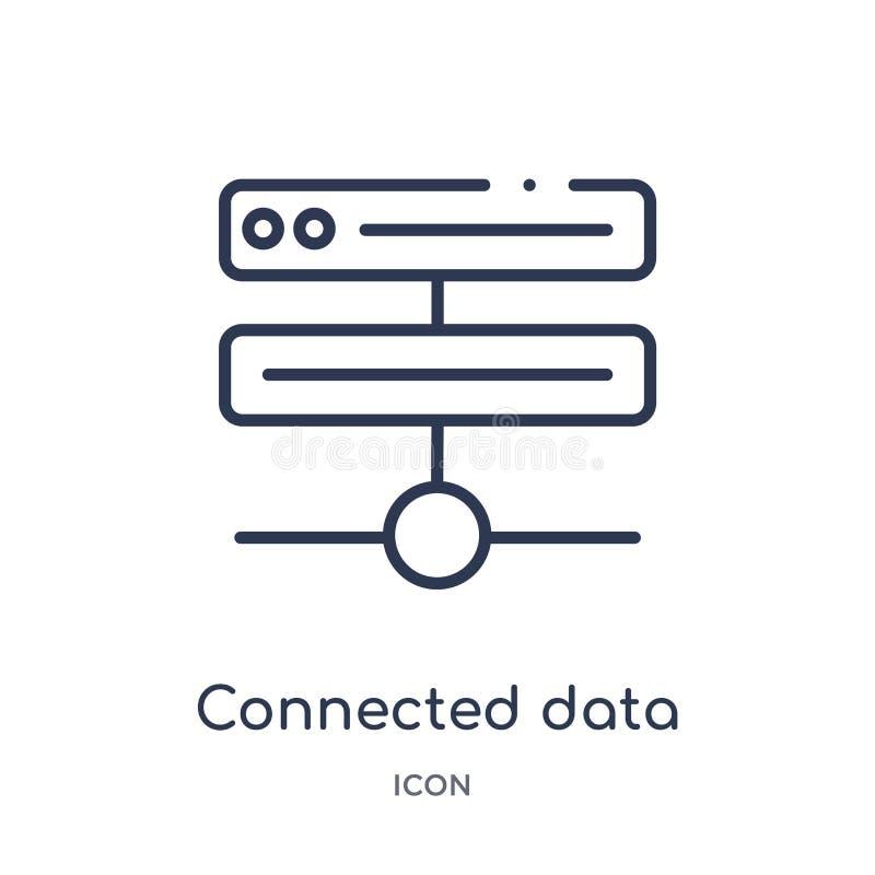Ícone conectado linear dos dados da coleção do esboço do negócio e da analítica A linha fina conectou o vetor de dados isolada no ilustração stock