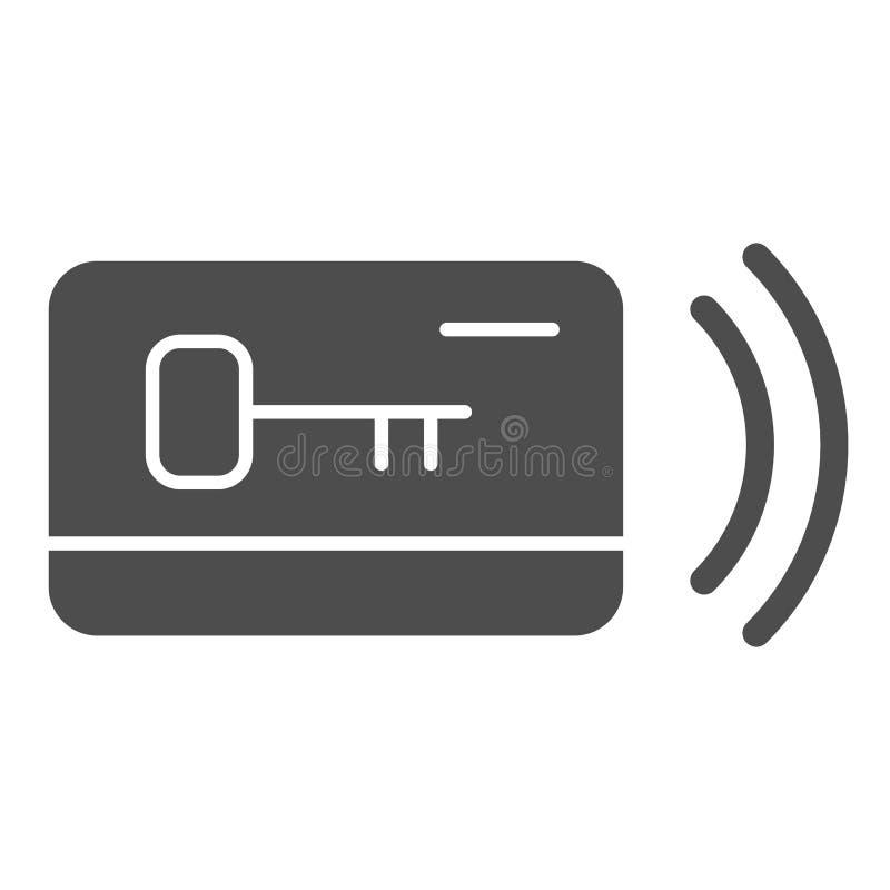 Ícone contínuo chave plástico do cartão Ilustração do vetor do acesso isolada no branco Projeto eletrônico do estilo do glyph do  ilustração stock