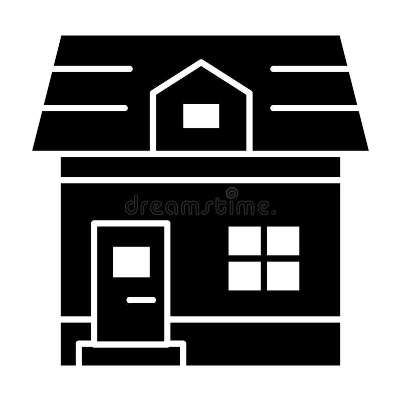 Ícone contínuo da casa de campo do sótão Ilustração do vetor da arquitetura isolada no branco Projeto do estilo do glyph da casa  ilustração do vetor