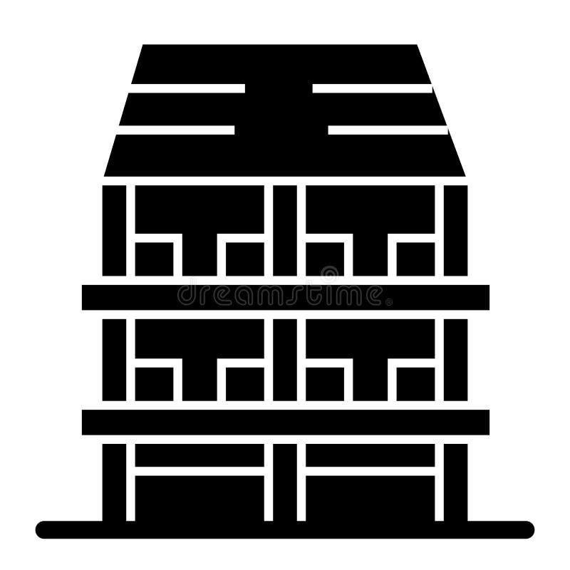 ícone contínuo da casa da Três-história Ilustração exterior do vetor isolada no branco Projeto do estilo do glyph da arquitetura, ilustração royalty free