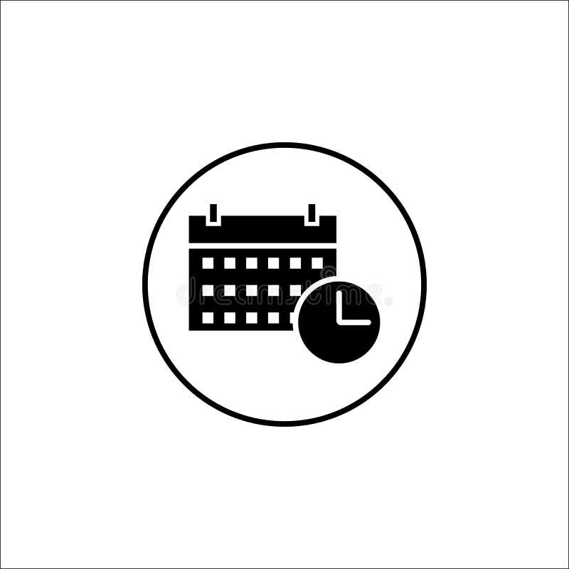 Ícone contínuo da data e da hora, sinal móvel e calendário ilustração royalty free