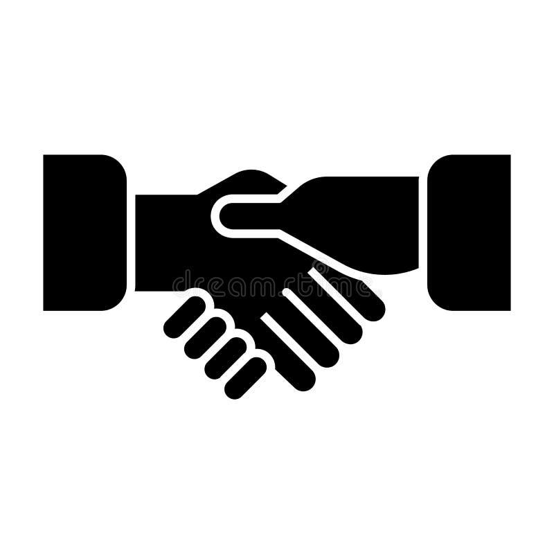 Ícone contínuo das mãos da agitação Ilustração do vetor do aperto de mão isolada no branco Projeto do estilo do glyph da parceria ilustração do vetor