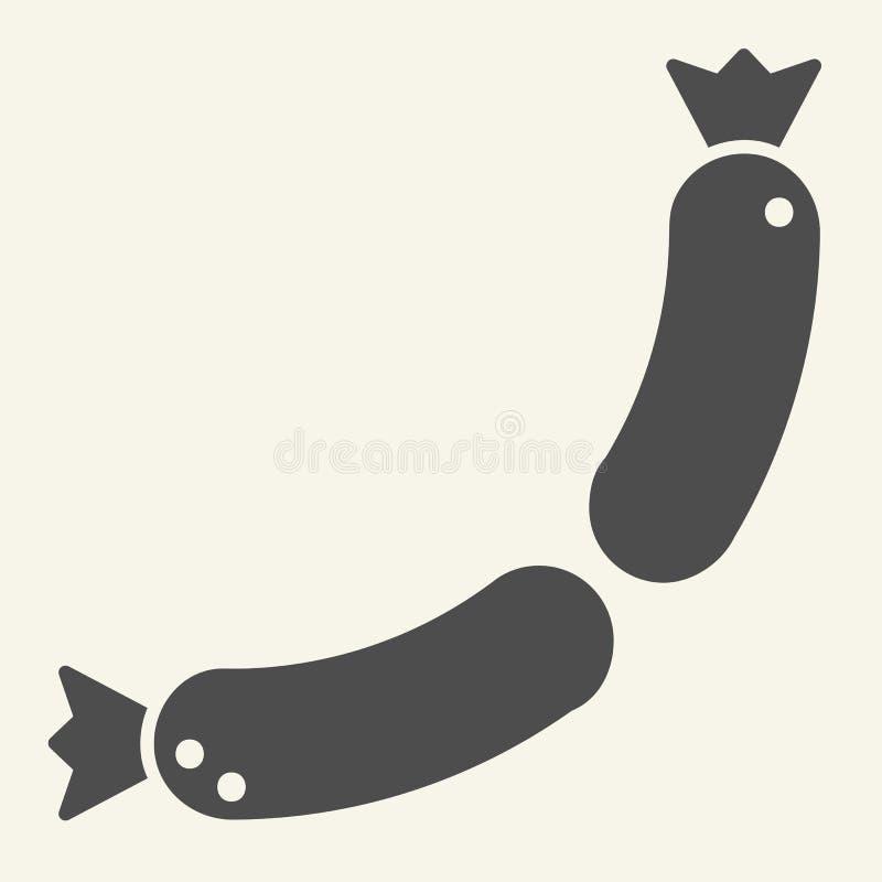 Ícone contínuo das salsichas Ilustração do vetor da salsicha tipo frankfurter isolada no branco Projeto do estilo do glyph do ali ilustração do vetor