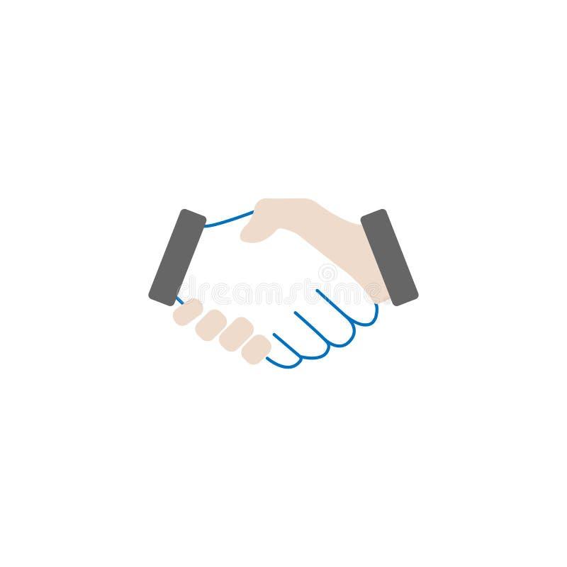 Ícone contínuo do aperto de mão do negócio, acordo do negócio ilustração royalty free