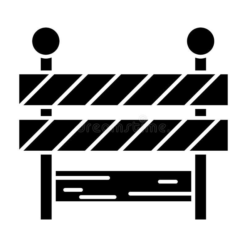 Ícone contínuo do corte de estrada Ilustração do vetor da barreira isolada no branco Projeto do estilo do glyph do limite, projet ilustração stock