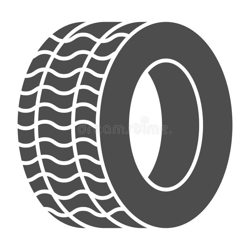 Ícone contínuo do pneu Ilustração do vetor da roda do automóvel isolada no branco Projeto do estilo do glyph do pneumático do car ilustração do vetor
