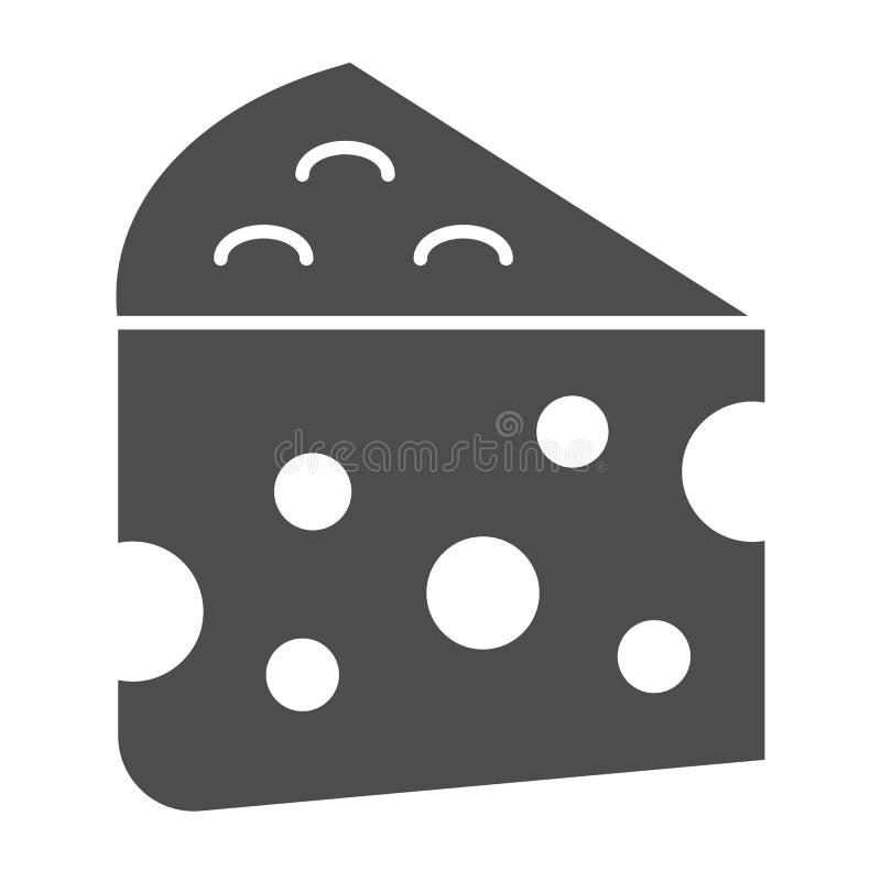 Ícone contínuo do queijo Ilustração do vetor do alimento de leite isolada no branco Projeto do estilo do glyph do queijo Cheddar, ilustração do vetor