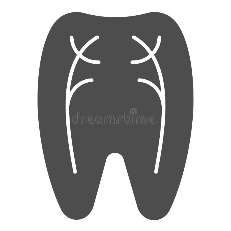 Ícone contínuo dos nervos do dente Ilustração do vetor do dentista isolada no branco Projeto peridental do estilo do glyph, proje ilustração royalty free