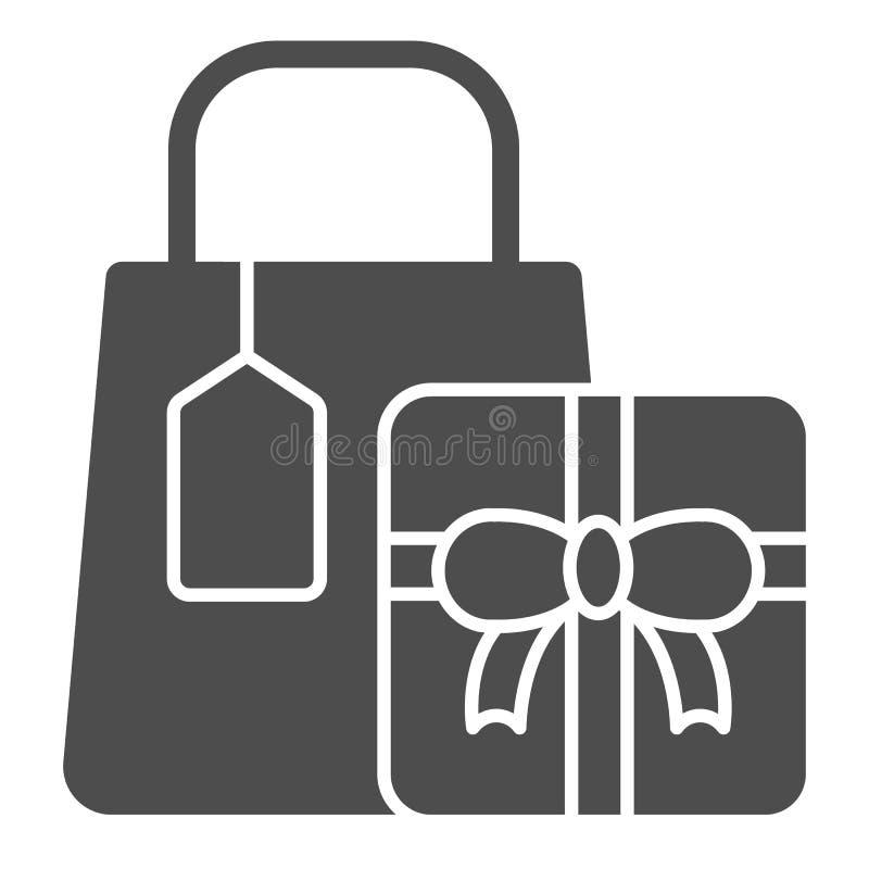 Ícone contínuo dos presentes da compra Ilustra??o do vetor dos presentes isolada no branco Projeto de compra do estilo do glyph d ilustração stock