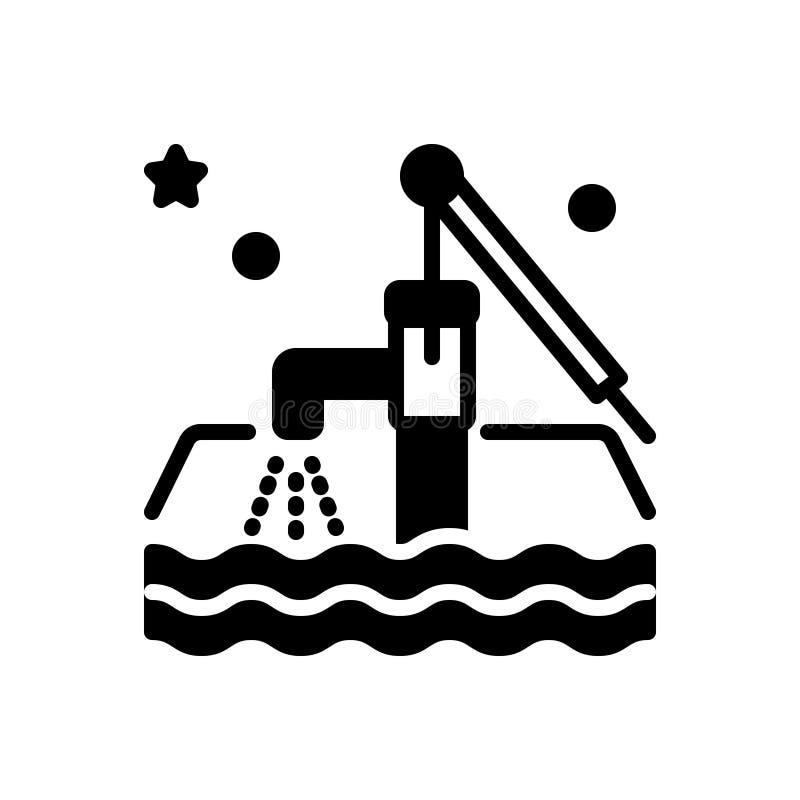Ícone contínuo preto para a água subterrânea, as áreas aquíferas e a água ilustração stock