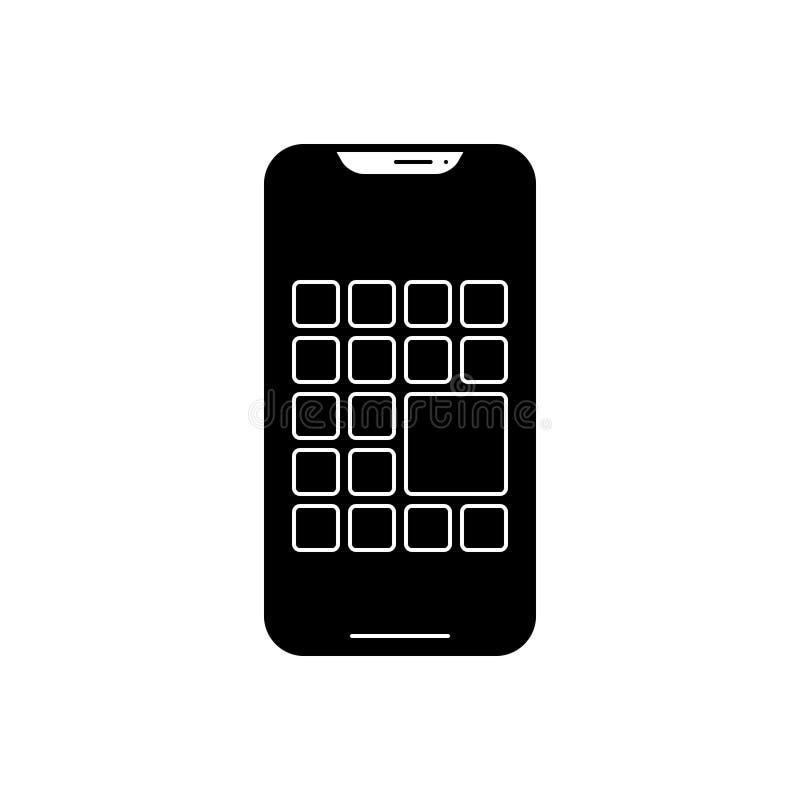 Ícone contínuo preto para apps, o smartphone e a aplicação múltiplos ilustração stock