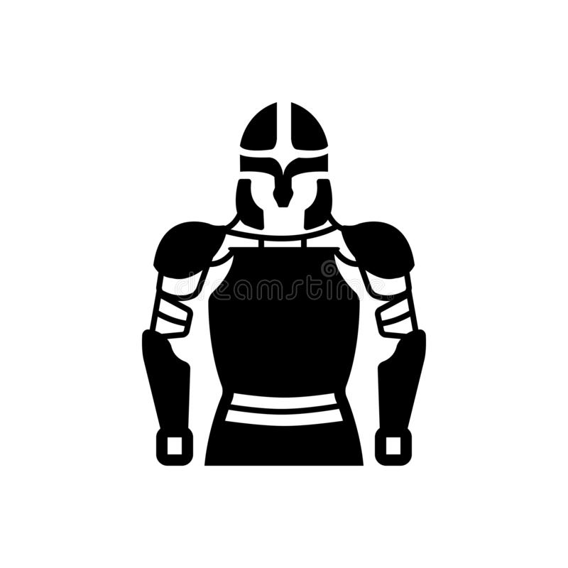 Ícone contínuo preto para a armadura, o cavaleiro e o guerreiro ilustração royalty free