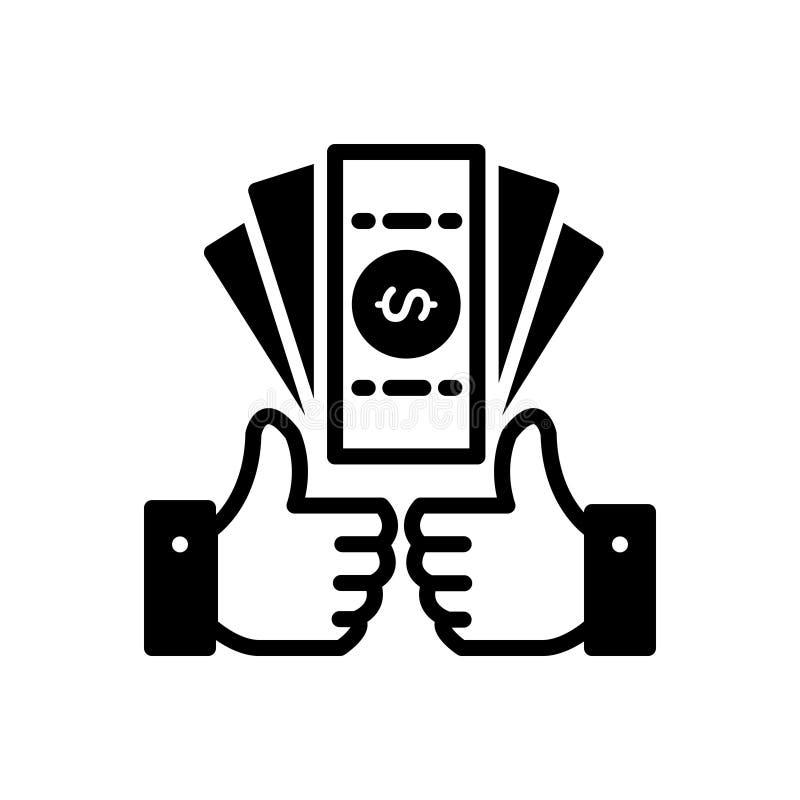 Ícone contínuo preto para benefícios, lucro e ganho ilustração stock