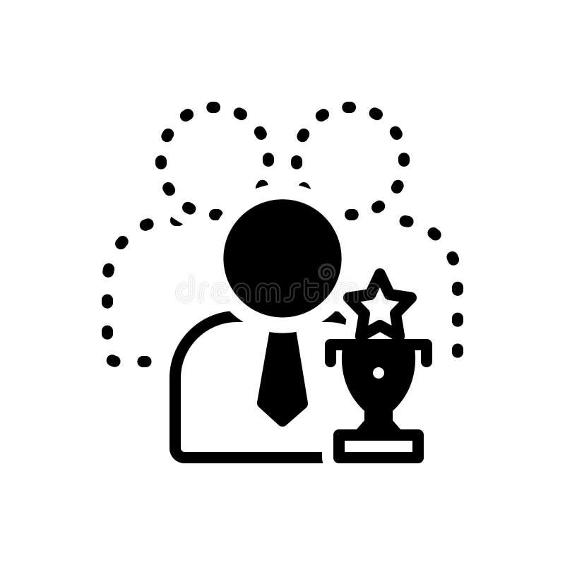 Ícone contínuo preto para capaz, competente e adequado ilustração royalty free
