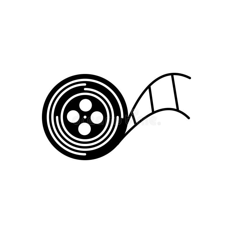 Ícone contínuo preto para carretéis, armazenamento e registrador do programa demonstrativo ilustração royalty free