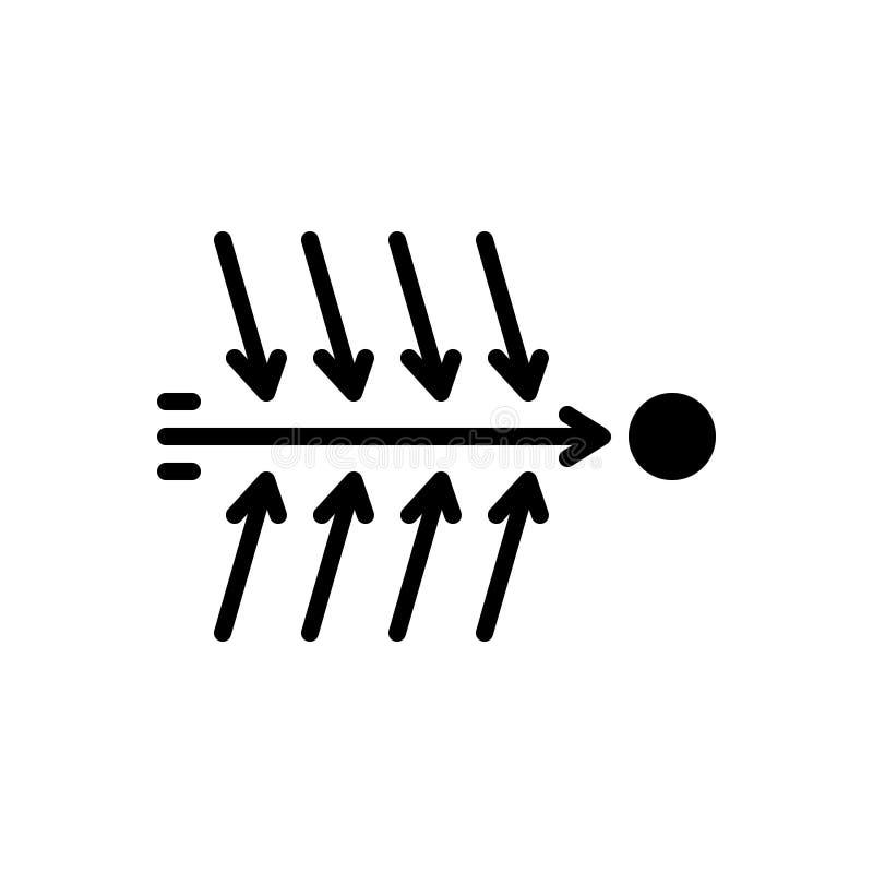 Ícone contínuo preto para a causa, a razão e o problema ilustração do vetor