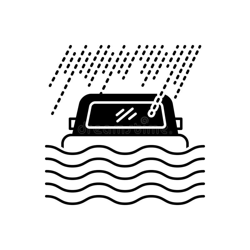 ?cone cont?nuo preto para a cobertura, o desastre e a seguran?a de inunda??o ilustração stock