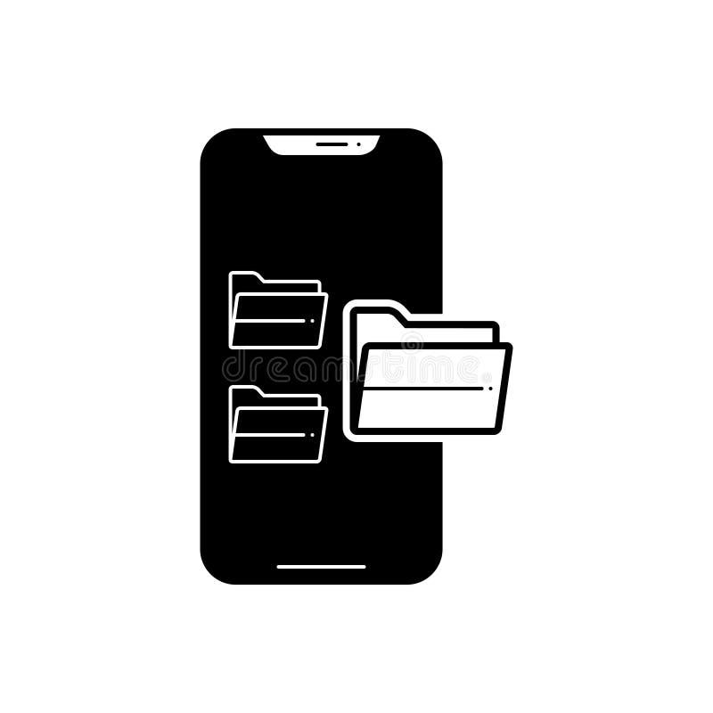 Ícone contínuo preto para dobradores, arquivo e documento ilustração stock