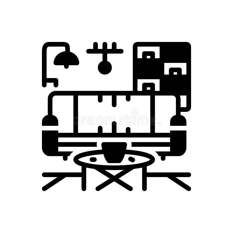Ícone contínuo preto para Furnished, equipado e cabido ilustração stock