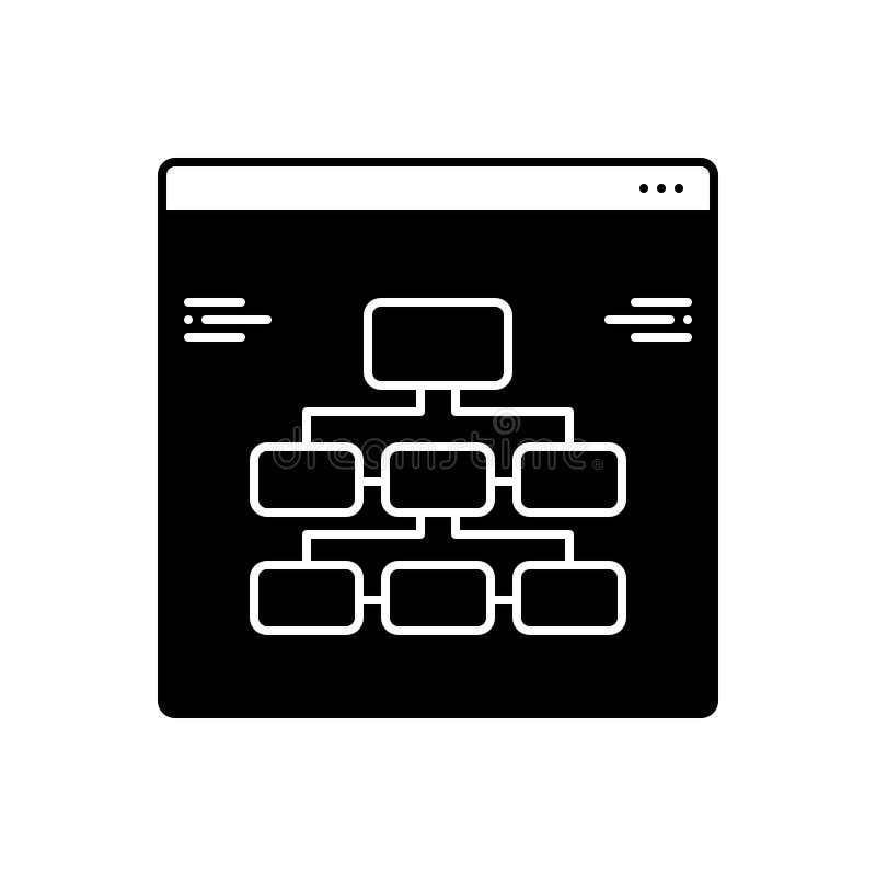 Ícone contínuo preto para a informação, a arquitetura e a tecnologia ilustração stock