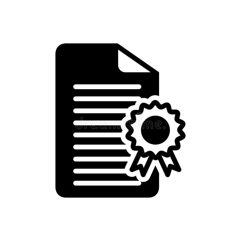Ícone contínuo preto para licenciar, certificados e documento ilustração royalty free