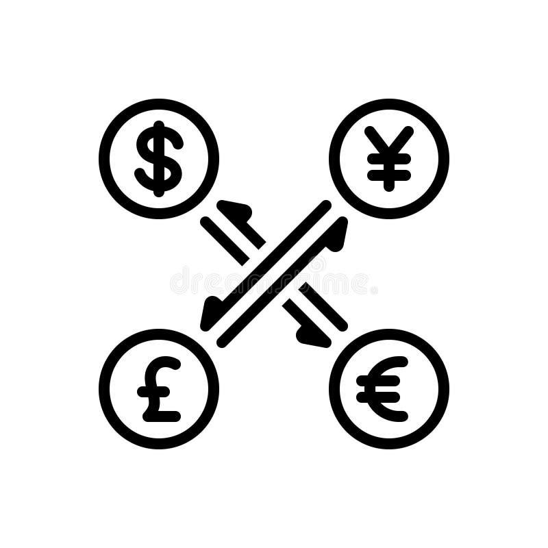 Ícone contínuo preto para a moeda, o converso e o dinheiro ilustração do vetor
