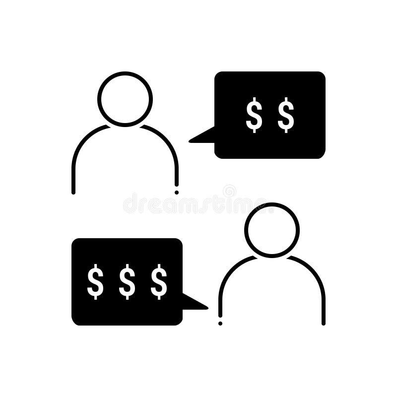 Ícone contínuo preto para a negociação, a conversação e o acordo ilustração do vetor