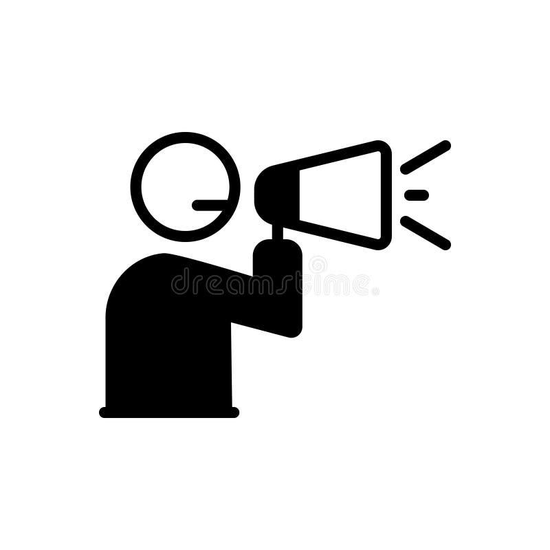 Ícone contínuo preto para o anúncio, o megafone e a transmissão ilustração do vetor