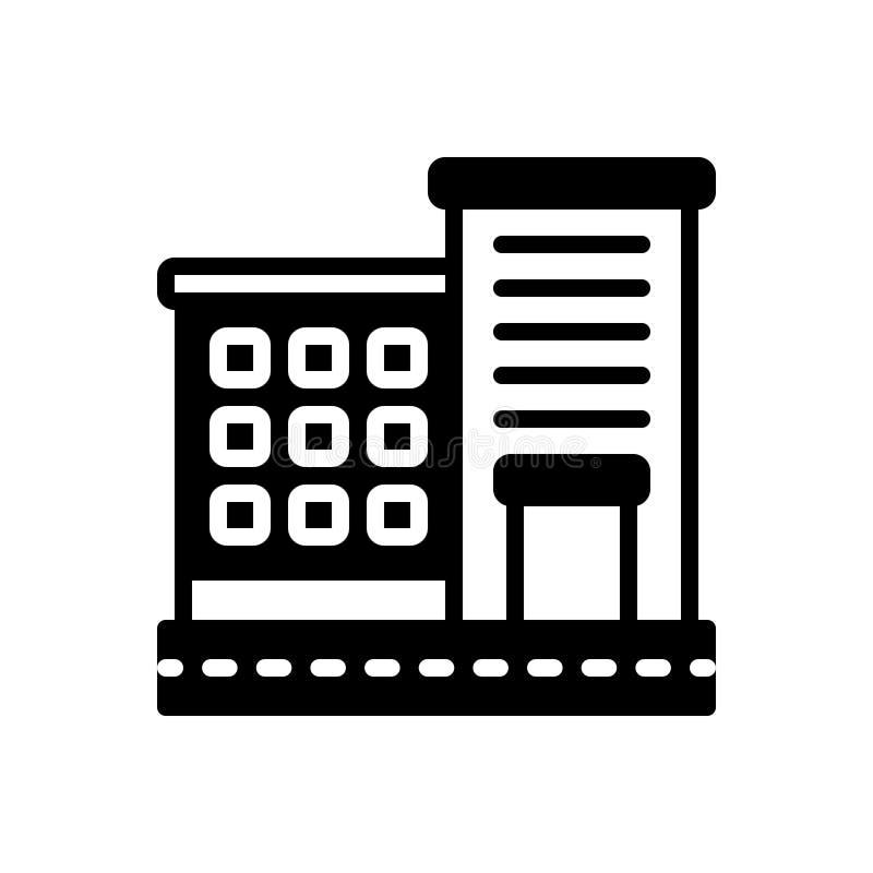 Ícone contínuo preto para o apartamento, as acomodações e a residência ilustração do vetor