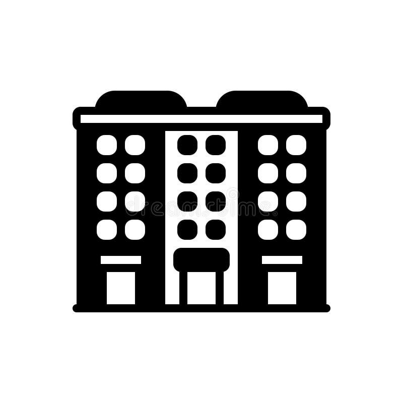 Ícone contínuo preto para o apartamento, as acomodações e a residência ilustração stock