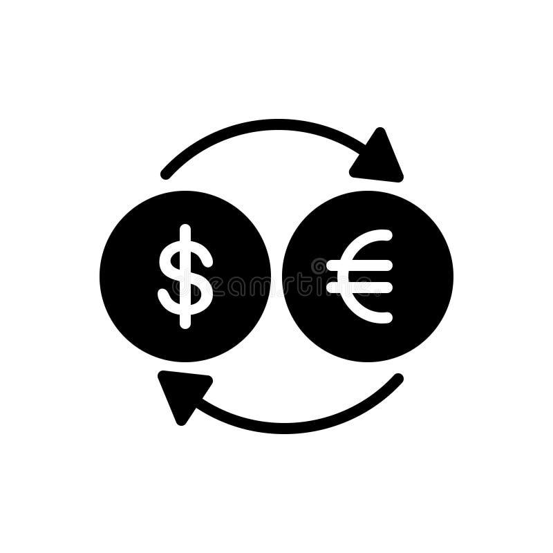 Ícone contínuo preto para o converso, a moeda e a troca ilustração royalty free