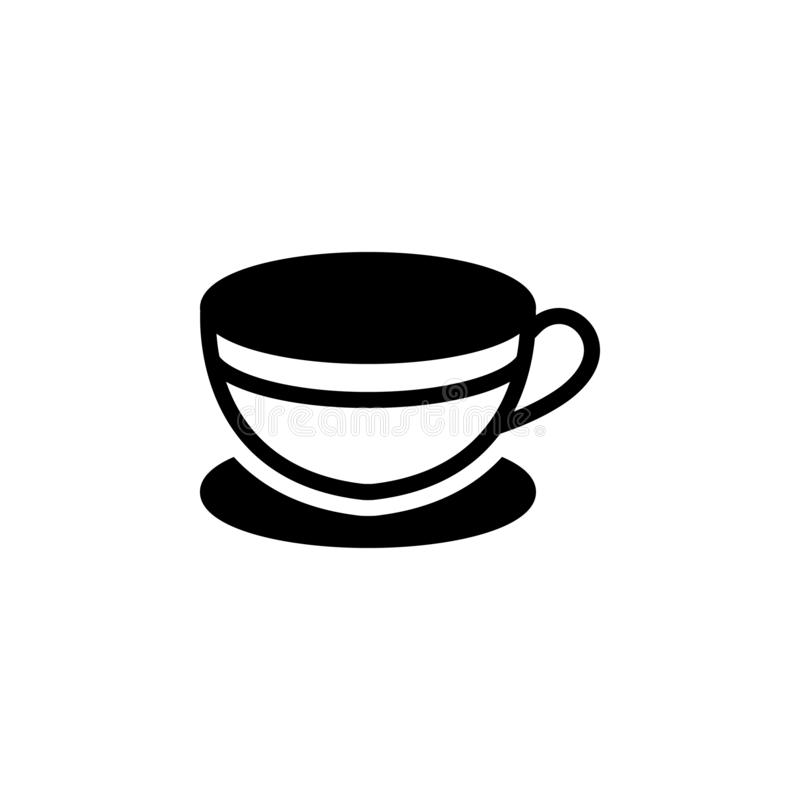Ícone contínuo preto para o copo, o chá e o quente ilustração do vetor