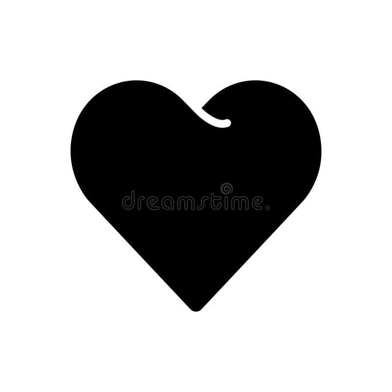Ícone contínuo preto para o coração, a afeição e o impulso ilustração do vetor