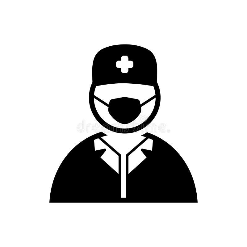 Ícone contínuo preto para o doutor, a saúde e a enfermeira do cirurgião ilustração royalty free