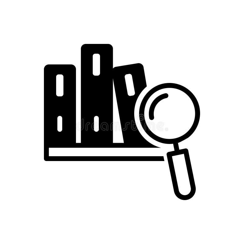 Ícone contínuo preto para o estudo de caso, a aprendizagem e a lente de aumento ilustração royalty free