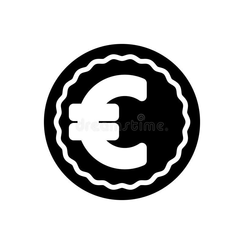 Ícone contínuo preto para o Euro, a troca e a moeda ilustração do vetor