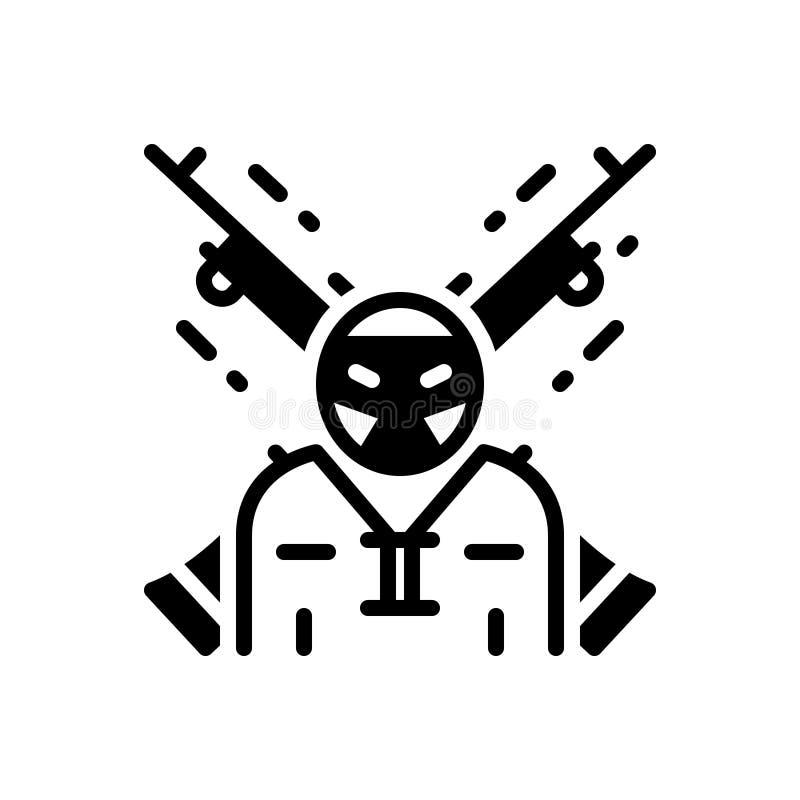 Ícone contínuo preto para o extremista, o terrorista e o rebelde