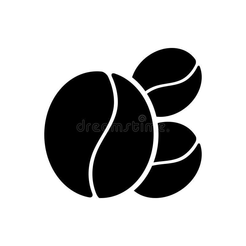 Ícone contínuo preto para o feijão, o alimento e a semente de café ilustração stock