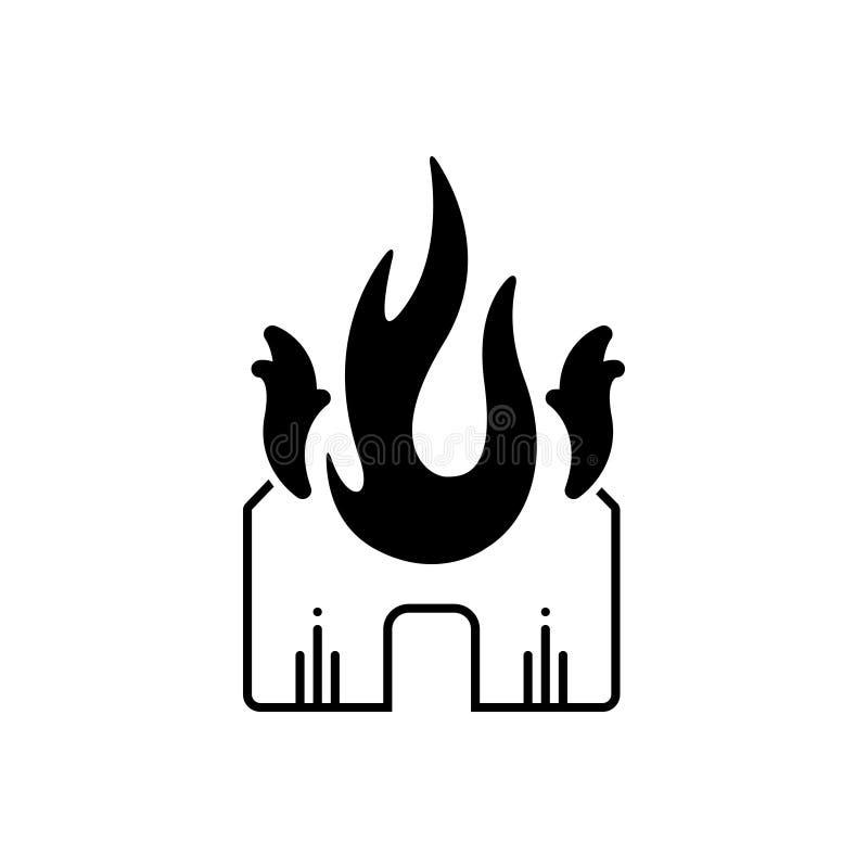 Ícone contínuo preto para o fogo, a bomba e o fumo da explosão ilustração royalty free