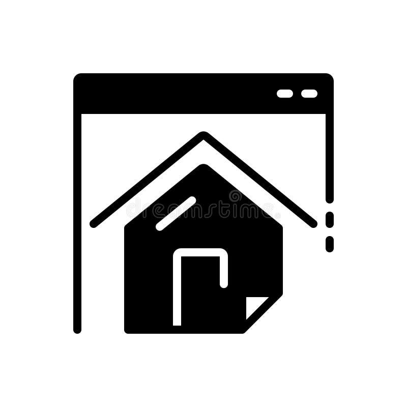 Ícone contínuo preto para o homepage, o Web site e a residência ilustração do vetor