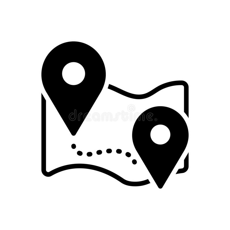 Ícone contínuo preto para o lugar, o ponteiro e o app ilustração royalty free