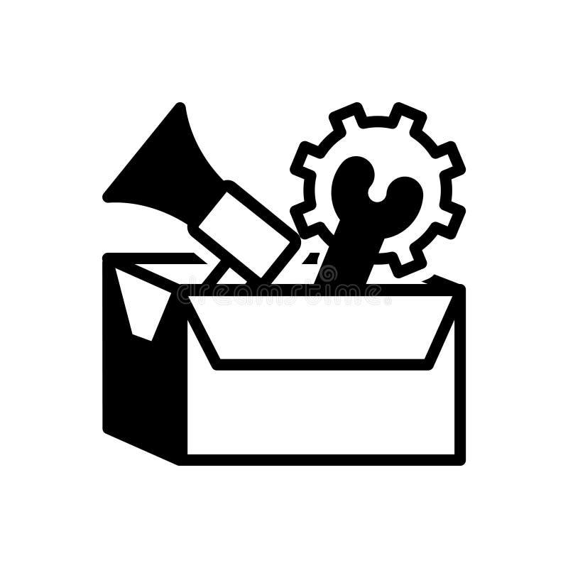 Ícone contínuo preto para o pacote, a distribuição e o transporte de serviços ilustração stock