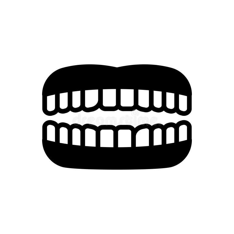 Ícone contínuo preto para os dentes, o dente e a mastigação ilustração stock
