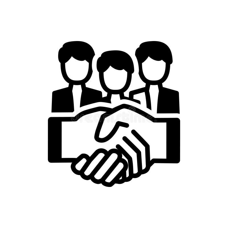 Ícone contínuo preto para a parceria, a colaboração e o aperto de mão ilustração do vetor