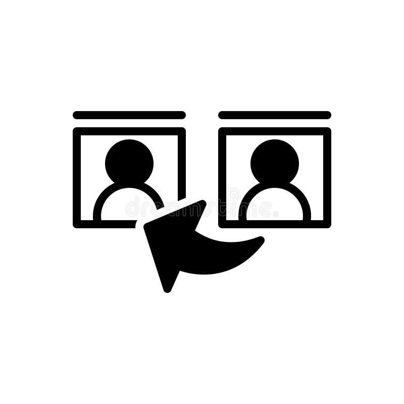 Ícone contínuo preto para a referência, o testemunho e a comunicação ilustração stock