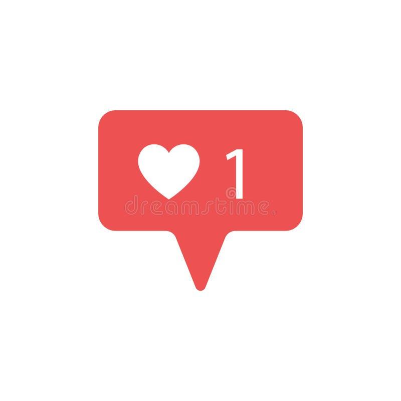 Ícone contrário novo da notificação seguidor O ícone novo gosta de 1 símbolo, botão Os meios sociais gostam do ui do insta, app,  ilustração stock
