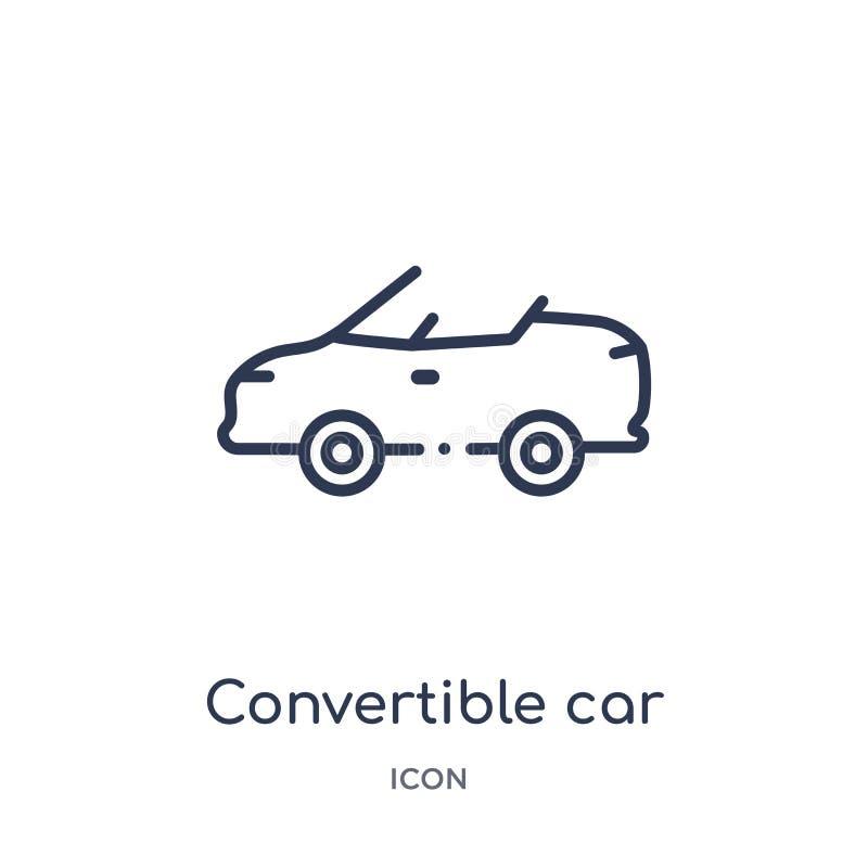 Ícone convertível linear do carro da coleção do esboço de Mechanicons Linha fina ícone convertível do carro isolado no fundo bran ilustração do vetor