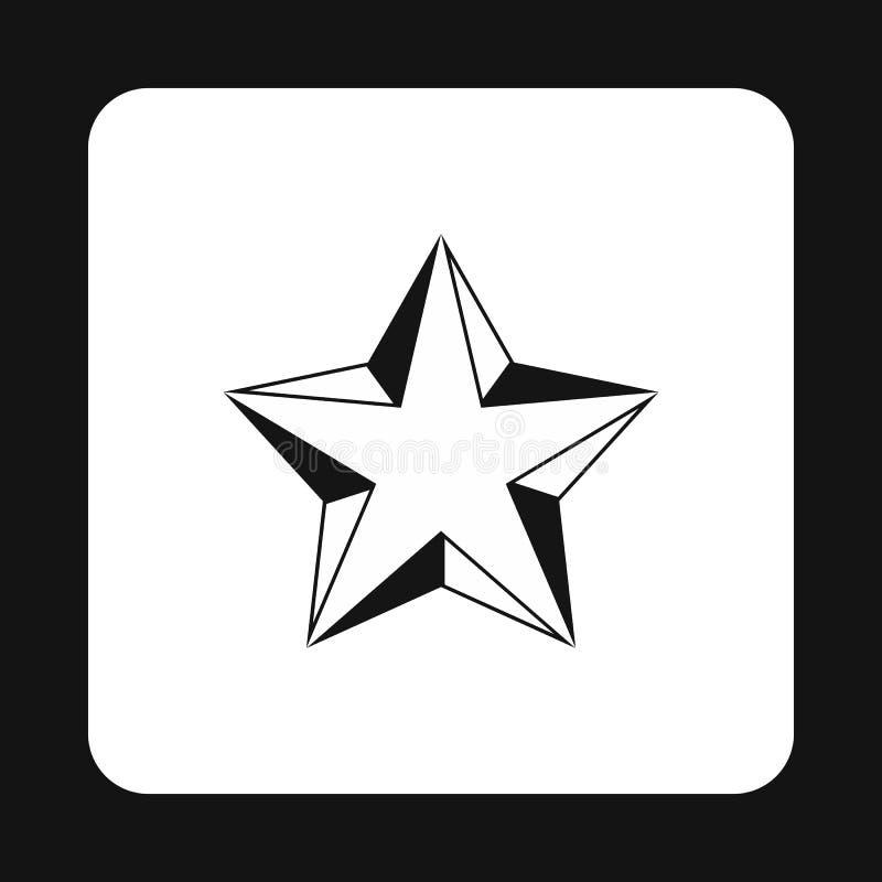 Ícone convexo aguçado da estrela cinco, estilo simples ilustração stock