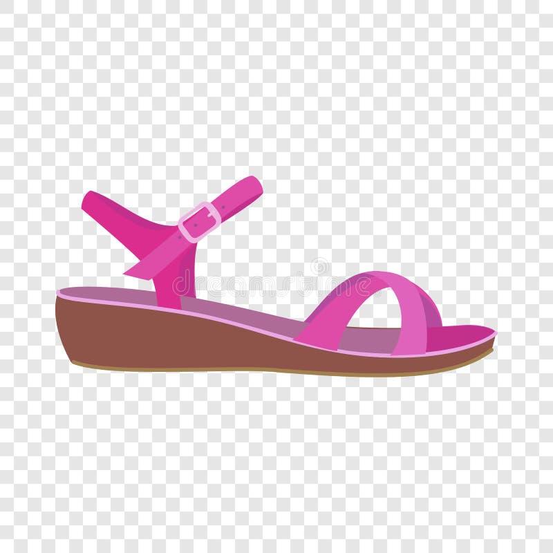Ícone cor-de-rosa da sandália, estilo liso ilustração do vetor